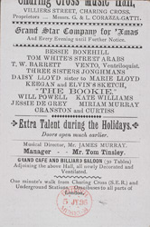 Advertisement for the Grand Star Company for Xmas at the Charing Cross Music Hall reverse